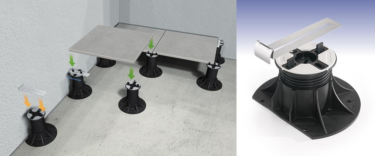 Clip for perimeter wall in elevated floors. UNIVERSAL EDGE CLIP.